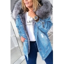 Vintage Womens Jacket Faded Wash Distressed Thick Flap Chest Pockets Fur-Lined Hood Mid Length Button up Slim Fit Long Sleeve Denim Jacket