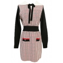 Womens Dress Trendy Houndstooth Pattern Tie Contrast Panel Waist-Controlled Turn down Collar Long Sleeve Slim Fitted Midi Knitted Dress