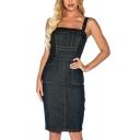 Unique Womens Dress Contrast Topstitching Split Back Strap Sleeveless Short Slim Fitted Denim Bodycon Dress