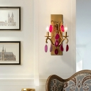 Luxurious Plant Shape Wall Lamp Clear Crystal/Purple Agate 2 Lights Gold Wall Lamp for Hotel Restaurant