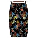 Retro Ethnic Style Paisley Printed Women's Midi Pencil Skirt