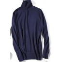All-Match Women's Sweater Plain Ribbed Trims High Neck Long-sleeved Regular Fitted Sweater
