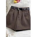 Womens Shorts Fashionable Metal-Buckle Belted Woolen Zipper Fly High Rise Regular Fitted Wide Leg Relaxed Shorts
