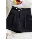 Vintage Womens Shorts Plain Woolen Zipper Fly Wide Leg High Waist Regular Fitted Relaxed Shorts