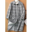 Novelty Womens Coat Plaid Pattern Front Double-Pocket Button down Loose Fit Long Sleeve Turn-down Collar Longer Length Wool Coat