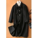 Womens Coat Trendy Double-Sided Woollen Detachable Bow-Tie Button Detail Long Sleeve Mid-Length Turn down Collar Loose Fit Wool Coat