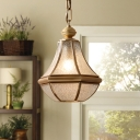 Seeded Glass Brass Pendulum Light Pear 1-Light Traditional Ceiling Hang Lamp for Dining Room
