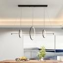 Circular Hanging Island Lamp Minimal Metal Black/Gold Linear LED Drop Pendant in Warm/White Light, 35.5