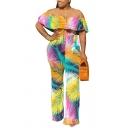 Basic Womens Jumpsuit Color-Leaf Pattern Tie Waist Slim Fitted Ruffled off Shoulder Short Sleeve Jumpsuit