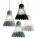Metal Badminton Ceiling Pendant Decorative 1-Head Black/Grey/Green Hanging Lamp Kit for Dining Room