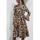 Stylish Womens A-Line Dress Leopard Print Pleated V Neck Long Flare Cuff Sleeves Fitted Midi A-Line Dress with Belt