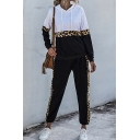 Unique Womens Co-ords Leopard Contrast Panel Long Sleeve Hoodie Ankle Length Tapered Pants Regular Fit Jogger Co-ords