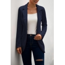 Retro Womens Jacket Solid Color Tunic Lapel Collar Slim Fit Long Sleeve Suit Jacket
