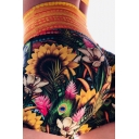 Fitness Women's Shorts All over Floral Printed High Rise Slim Fitted Running Shorts