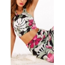 Vintage Womens Co-ords Floral Leaf Pattern Crew Neck Cropped Sleeveless Tank Top Skinny Fitted Leggings Yoga Co-ords