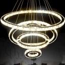 K9 Crystal 2/3-Tier Ring Chandelier Pendant Stylish Modern LED Ceiling Hang Light in Warm/White Light
