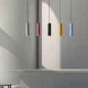 Terrazzo Red/Yellow/Blue Pendulum Light Tubular Loft Style LED Pendant Light Fixture over Dining Table