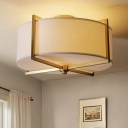 Fabric White Semi Flush Ceiling Light Round/Square 5-Bulb Traditional Flush Mount Lighting with Brass Guard