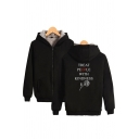 Warm Thick Women's Hoodie Plushed Fur Rose Letter Treat People with Kindness Pattern Zip Fly Side Pockets Ribbed Trim Long-sleeved Regular Fitted Hooded Sweatshirt
