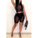 Retro Women's Set Mesh Gauze Transparent Contrast Panel Patchwork Lace up Mock Neck Sleevelss Tank Top with High Waist Shorts Co-ords
