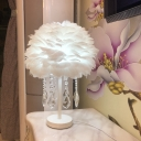 Domed Table Lamp Modernist Feather Single Living Room Nightstand Light in Pink/Apricot/Grey with Crystal Orb/Teardrop