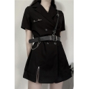 Leisure Women's Shirt Dress Solid Color Pin Detail Double Breasted Zipper Hem Notched Collar Short Sleeves Shirt Dress with Buckle Belt