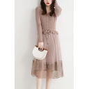 Fancy Women's Sweater Dress Patchwork Mesh Gauze Double-Layered Ruffles Ribbed Knit Broderie Button Detail Long-sleeved V Neck Slim Fitted Midi Sweater Dress