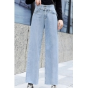 New Trendy Womens Light Blue Casual Loose Straight Fit Crossover Jeans