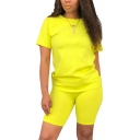 Classic Womens Co-ords Solid Color Short Sleeve Round Neck Tee Regular Fitted Shorts Co-ords