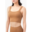 Creative Womens Cami Top Solid Color Shockproof Nude Feeling Skinny Fitted Cropped Sleeveless Scoop Neck Fitness Bra