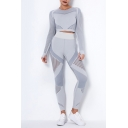 Leisure Womens Set Quick Dry Stripe Pattern Contrast Panel Crew Neck Long Sleeves Fitted Crop Top with High Waist Skinny Pants Fitness Co-ords