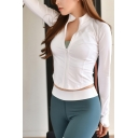 Creative Womens Yoga Jacket Solid Color Thumb Holes Zipper down Skinny Fit Long Sleeve Stand Collar Casual Jacket