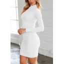 Leisure Womens Bodycon Dress Solid Color Ruched Detail Mock Neck Long Sleeves Slim Fitted Short Bodycon Dress