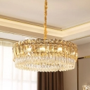 Crystal Circular Pendant Chandelier Simplicity 6/10 Lights Bedroom Ceiling Hanging Light in Silver