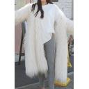 Women Winter Plain Faux Fur Long Sleeve Hooded Long Warm Coat