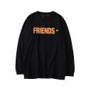 V FRIENDS Letter Printed Round Neck Long Sleeve Sweatshirt