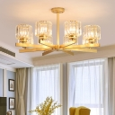 Gold Radial Chandelier Contemporary Metal 3/6/8 Lights Living Room Ceiling Pendant with Cylinder Crystal Shade
