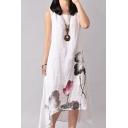 Retro Women's Swing Dress Floral Pattern High-Low Asymmetrical Hem Round Neck Sleeveless Relaxed Fit Midi Swing Dress