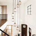 Cylinder Living Room Ceiling Pendant Clear K9 Crystal Prism 6/8-Head Modern Multi Hanging Light in Black/Gold