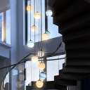 Planet Multi Pendant Light Fixture Nordic Stained Glass 8/12 Heads Loft House Ceiling Suspension Lamp in Black