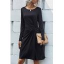 Elegant Black Long Sleeve Round Neck Twist Waist Mid A-line Dress for Ladies