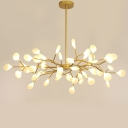45 Bulbs Living Room Ceiling Light Modern Black/Gold Finish Chandelier with Leaf Acrylic Shade