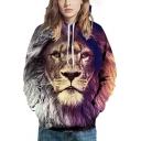 Cool Mens Hoodie Lion 3D Printed Contrasted Long Sleeve Drawstring Pouch Pocket Loose Hoodie in Brown
