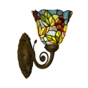 Bell Stained Glass Wall Sconce Tiffany 1 Bulb Bronze Wall Mount Light with Grape and Leaf Pattern