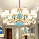 Tapered Opal Frosted Glass Chandelier Contemporary 6/8/15 Lights Bedroom Ceiling Pendant in Light Blue