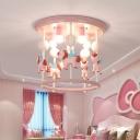 Cylindrical Carousel Flush Ceiling Light Cartoon Resin 6-Bulb Pink/Blue Flush Mount for Childrens Bedroom
