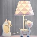Resin Unicorn/Dear Nightstand Lamp Cartoon 1-Light Pink/Blue Table Light with Conic Fabric Shade