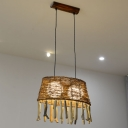 Hand-Twist Oval Rattan Drop Pendant Rustic 2 Heads Wood Ceiling Hang Light with/without Rod Fringe
