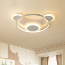 White Bear Head Flush Light Cartoon Metal LED Close to Ceiling Lamp in Warm/White Light for Bedroom, 18