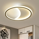 Acrylic Moon Shaped Ceiling Lamp Simplicity Black LED Flush Mount Light in Warm/White Light